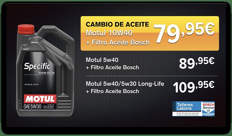 Oferta cambio de aceite con filtro Bosch