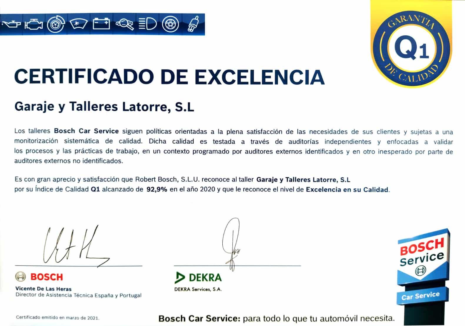 Certificado de Excelencia Q1 de Bosch Car Service Talleres Latorre en Palma